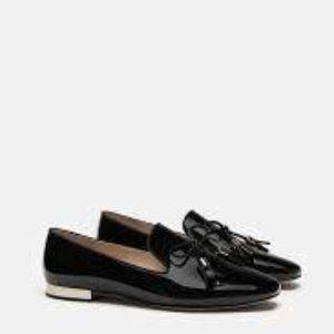 ZARA Patent Leather Black loafers Size 9